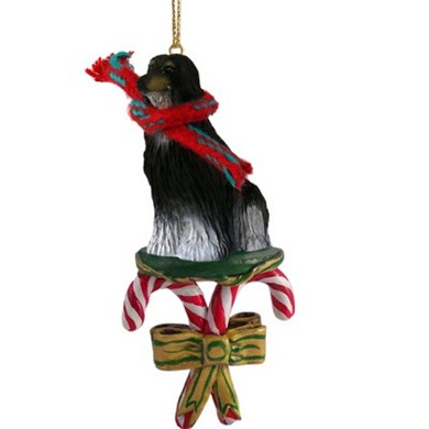 Raining Cats and Dogs | Candy Cane Afghan Dog Christmas Ornament