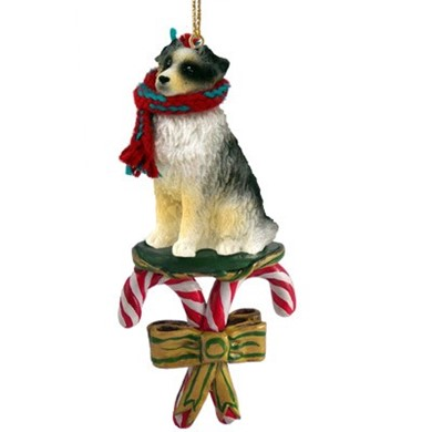 Raining Cats and Dogs | Candy Cane Australian Shepherd Dog Christmas Ornament