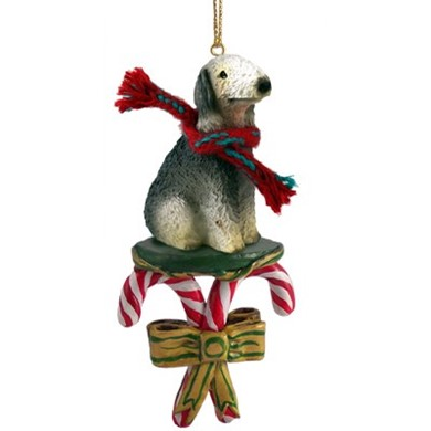 Raining Cats and Dogs | Candy Cane Bedlington Terrier Dog Christmas Ornament