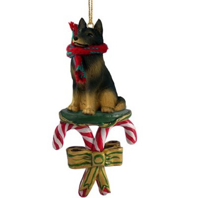 Raining Cats and Dogs | Candy Cane Dog Belgian Tervuren Christmas Ornament