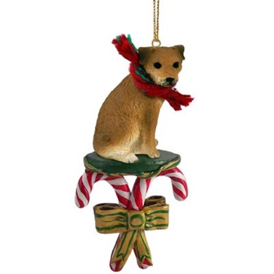Raining Cats and Dogs | Candy Cane Border Terrier Dog Christmas Ornament