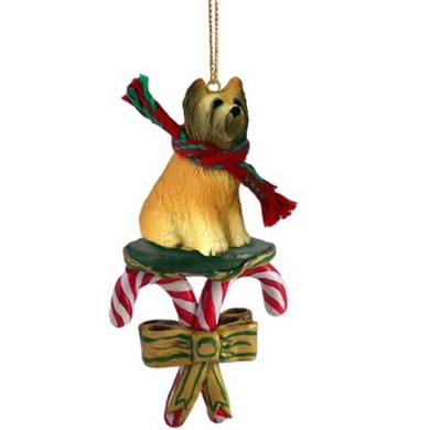 Raining Cats and Dogs | Candy Cane Briard Dog Christmas Ornament