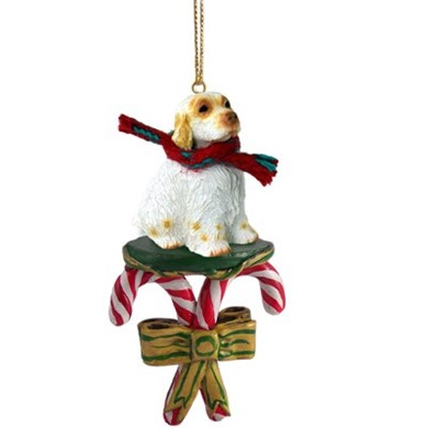 Raining Cats and Dogs | Candy Cane Clumber Spaniel Dog Christmas Ornament