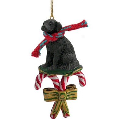 Raining Cats and Dogs | Candy Cane Flat Coated Retriever Dog Christmas Ornament
