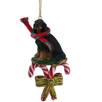 Raining Cats and Dogs | Candy Cane Gordon Setter Dog Christmas Ornament