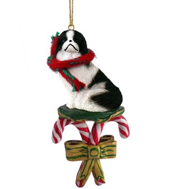 Raining Cats and Dogs | Candy Cane Japanese Chin Dog Christmas Ornament