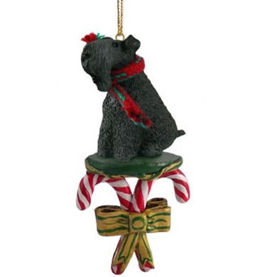 Raining Cats and Dogs | Candy Cane Kerry Blue Terrier Dog Christmas Ornament