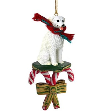 Raining Cats and Dogs | Candy Cane Kuvasz Dog Christmas Ornament