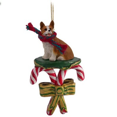 raining cats and dogs candy cane welsh corgi pembroke dog christmas ornament - Corgi Christmas Ornaments