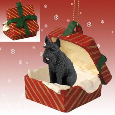 Raining Cats and Dogs | Giant Schnauzer Gift Box Christmas Ornament