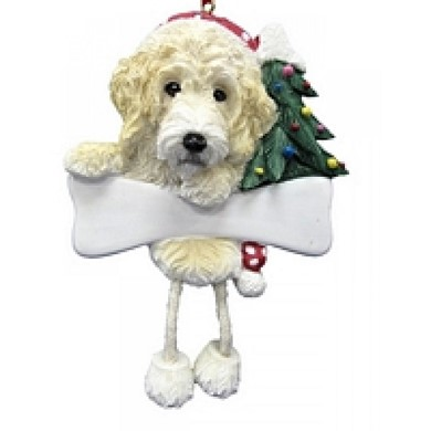 Raining Cats and Dogs | Labradoodle Dangling Legs Dog Christmas Ornament