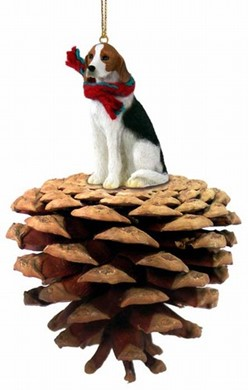 Raining Cats and Dogs | Pine Cone American Fox hound Christmas Ornament