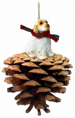 Raining Cats and Dogs | Pine Cone Clumber Spaniel Dog Christmas Ornament