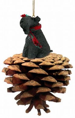 Raining Cats and Dogs | Pine Cone Kerry Blue Terrier Dog Christmas Ornament