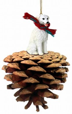 Raining Cats and Dogs | Pine Cone Kuvasz Dog Christmas Ornament