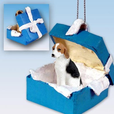 Raining Cats and Dogs | American Foxhound Gift Box Holiday Ornament