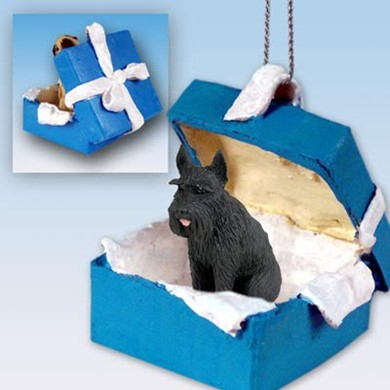 Raining Cats and Dogs | Giant Schnauzer Gift Box Holiday Ornament
