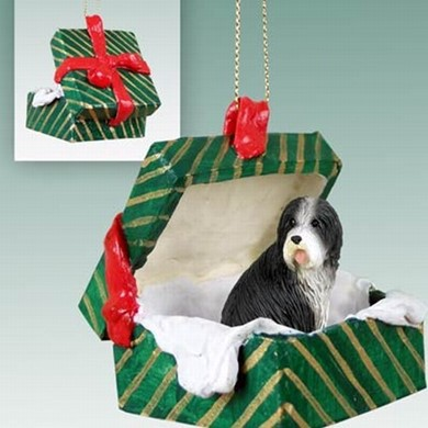 Raining Cats and Dogs | Bearded Collie Green Gift Box Christmas Ornament