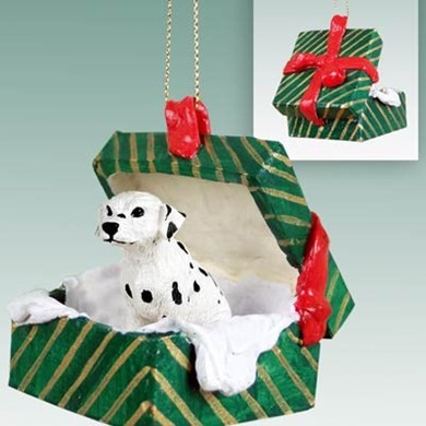 Raining Cats and Dogs | Dalmatian Green Gift Box Christmas Ornament