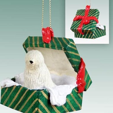 Raining Cats and Dogs | Komondor Green Gift Box Christmas Ornament