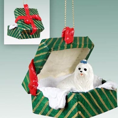 Raining Cats and Dogs | Maltese Green Gift Box Christmas Ornament