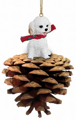 Raining Cats and Dogs | Pine Cone Cockapoo Dog Christmas Ornament