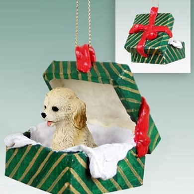 Raining Cats and Dogs | Cockapoo Green Gift Box Christmas Ornament