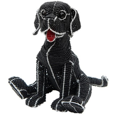 Raining Cats and Dogs | Black Labrador Retriever Beaded Sculpture, Astro the Lab