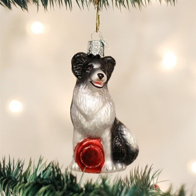 Raining Cats and Dogs | Border Collie Old World Christmas  Dog Ornament