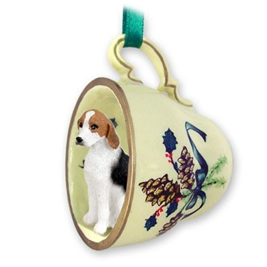 Raining Cats and Dogs | American Foxhound Tea Cup Holiday Ornament
