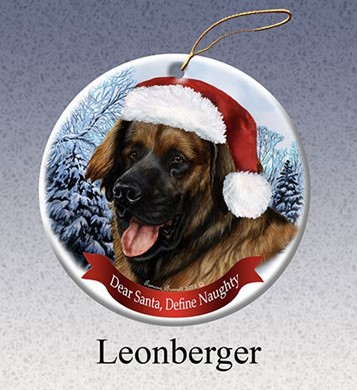 Raining Cats and Dogs | Leonberger Dear Santa Dog Christmas Ornament