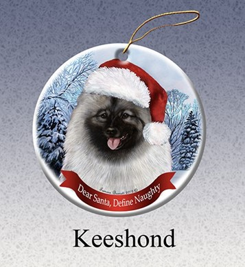 Raining Cats and Dogs | Keeshond Dear Santa Dog Christmas Ornament