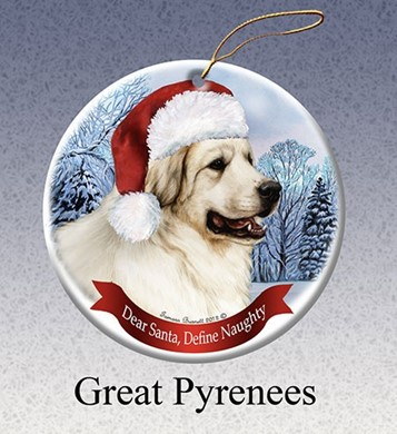 Raining Cats and Dogs | Great Pyrenese Dear Santa Dog Christmas Ornament