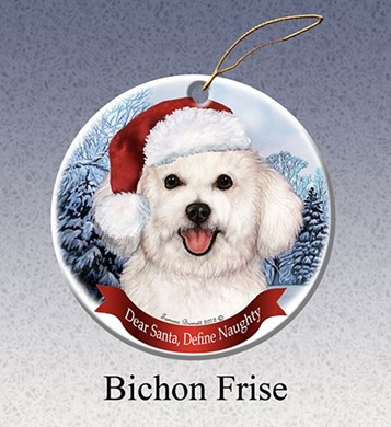 Raining Cats and Dogs | Bichon Frise Dear Santa Dog Christmas Ornament