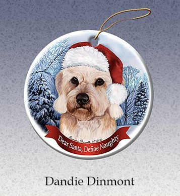 Raining Cats and Dogs | Dandie Dinmont Terrier Dear Santa Dog Christmas Ornament