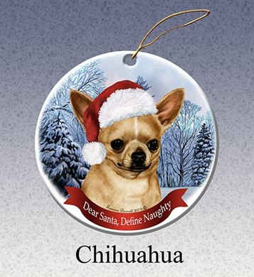 Raining Cats and Dogs |  Chihuahua Shorthaired Dear Santa Dog Christmas Ornament
