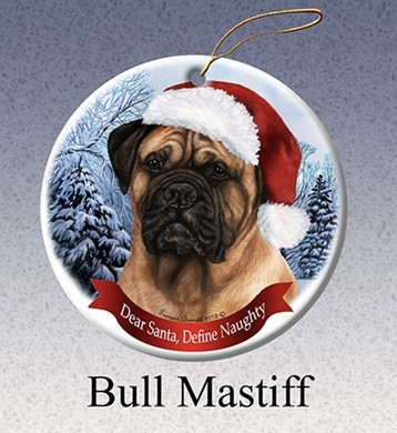 Raining Cats and Dogs | Bullmastiff Dear Santa Dog Christmas Ornament