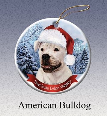 Raining Cats and Dogs | American Bulldog Dear Santa Dog Christmas Ornament