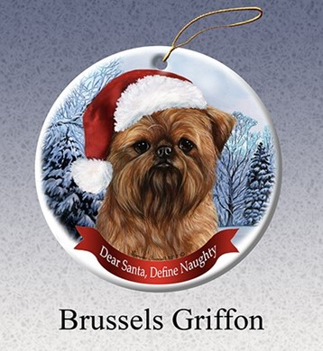 Raining Cats and Dogs | Brussels Griffon Dear Santa Dog Christmas Ornament