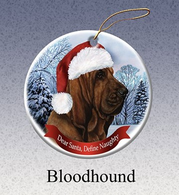 Raining Cats and Dogs | Bloodhound Dear Santa Dog Christmas Ornament