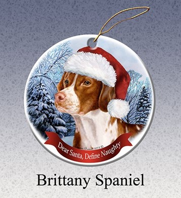 Raining Cats and Dogs | Brittany Spaniel Dear Santa Dog Christmas Ornament