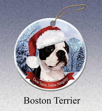Raining Cats and Dogs | Boston Terrier Dear Santa Dog Christmas Ornament