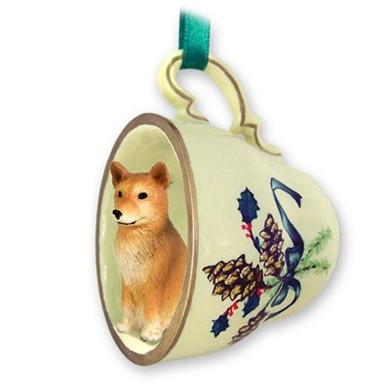 Raining Cats and Dogs | Finnish Spitz Tea Cup Holiday Ornament