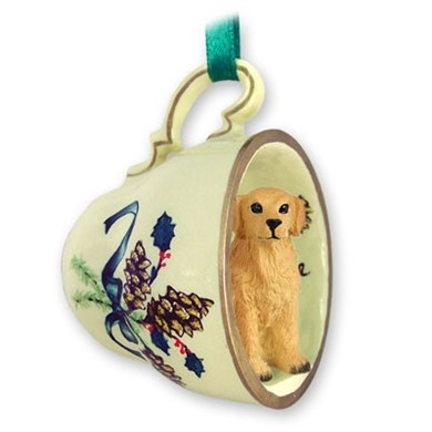 raining cats and dogs golden retriever tea cup holiday ornament