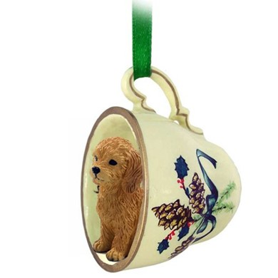 Raining Cats and Dogs | Golden Retriever Tea Cup Holiday Ornament