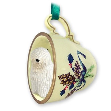 Raining Cats and Dogs | Komondor Tea Cup Holiday Ornament