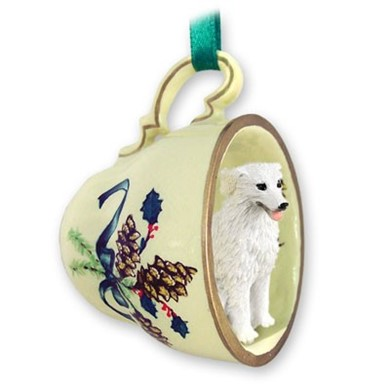 Raining Cats and Dogs | Kuvasz Tea Cup Holiday Ornament
