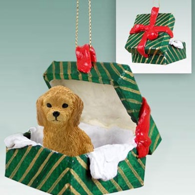 Raining Cats and Dogs | Goldendoodle Green Gift Box Christmas Ornament