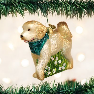 Raining Cats and Dogs | Doodle Vintage Dog Christmas Ornament