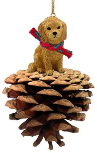 Raining Cats and Dogs | Pine Cone Goldendoodle Christmas Ornament